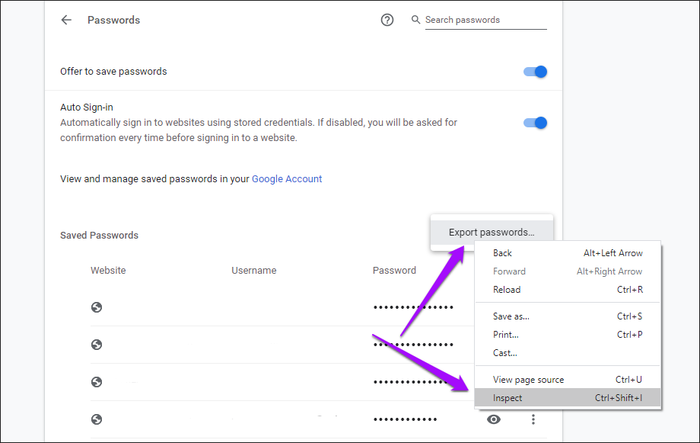 how to export passwords from chrome