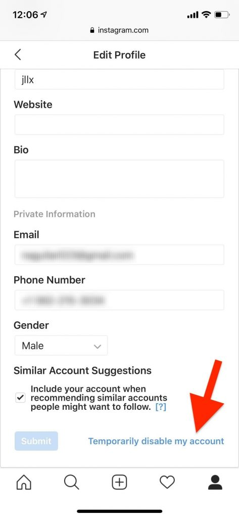 how to deactivate instagram account on android
