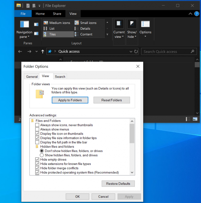 how to show hidden files on windows 10